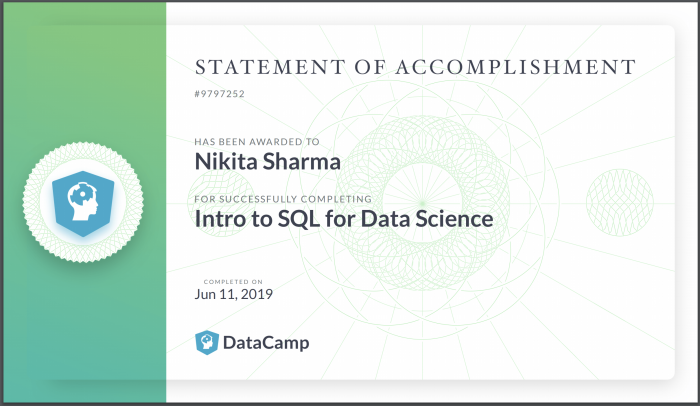 Certification – Introduction to SQL for Data Science